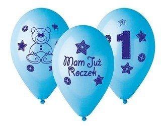 Balony 27cm Mam już roczek z misiem 5 sztuk niebieskie GB-MU1B
