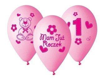 Balony 27cm Mam już roczek z misiem 5 sztuk różowe GB-MU1G