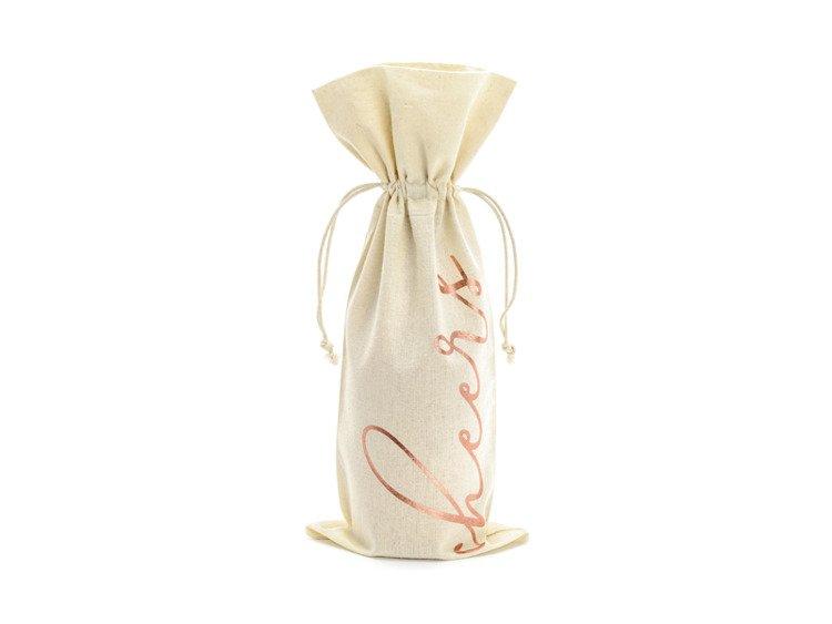 Woreczki bawełniane na wino Cheers różowe złoto 15,5 x 36cm WRB3-019R