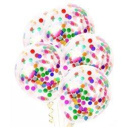 Balony z kolorowym konfetti ok. 30cm 5szt BAL42/5