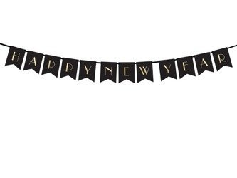 Baner napis Happy New Year czarny 170cm GRL64