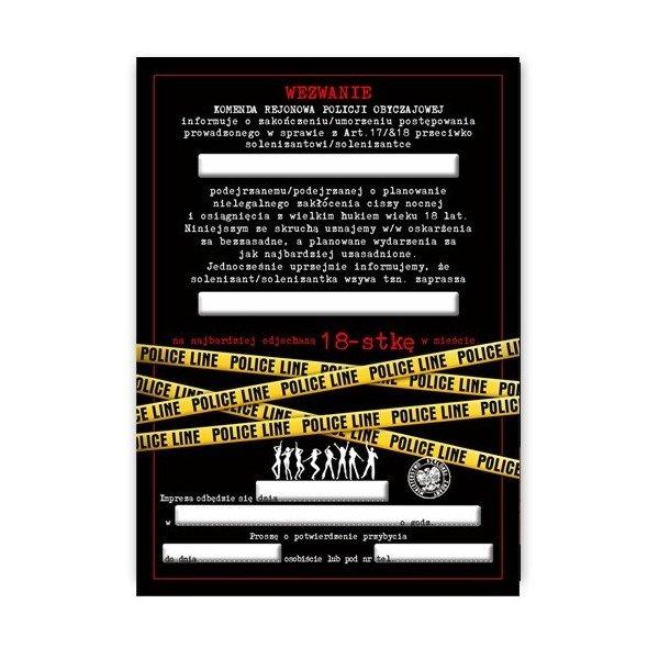 Zaproszenie Na 18 Urodziny Wezwanie Policyjne Zx8500 Kucmarpl