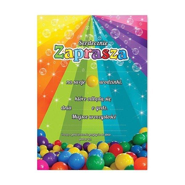 Zaproszenie Na Urodziny Kolorowe Kulki Zx6901 Kucmarpl